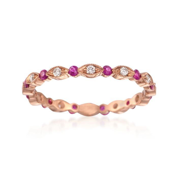Henri Daussi .26 ct. t.w. Ruby and .15 ct. t.w. Diamond Eternity Band in 18kt Rose Gold. Size 6.5, , default