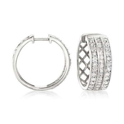 2.00 ct. t.w. Diamond Baguette and Round Diamond Hoop Earrings in Sterling Silver
