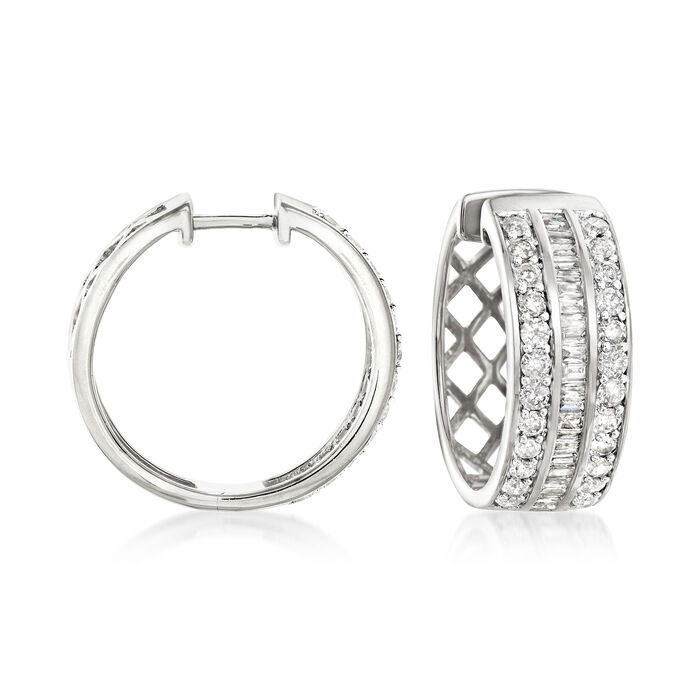 2.00 ct. t.w. Diamond Baguette and Round Diamond Hoop Earrings in Sterling Silver. 3/4""