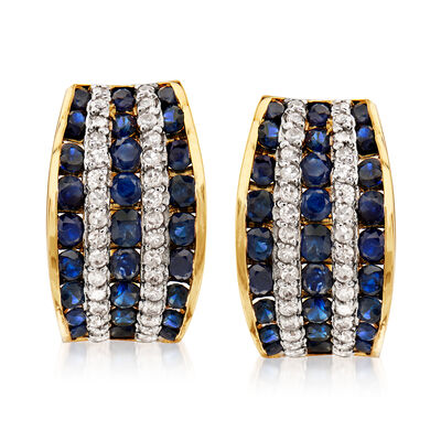 1.80 ct. t.w. Sapphire and .32 ct. t.w. Diamond Hoop Earrings in 14kt Yellow Gold, , default
