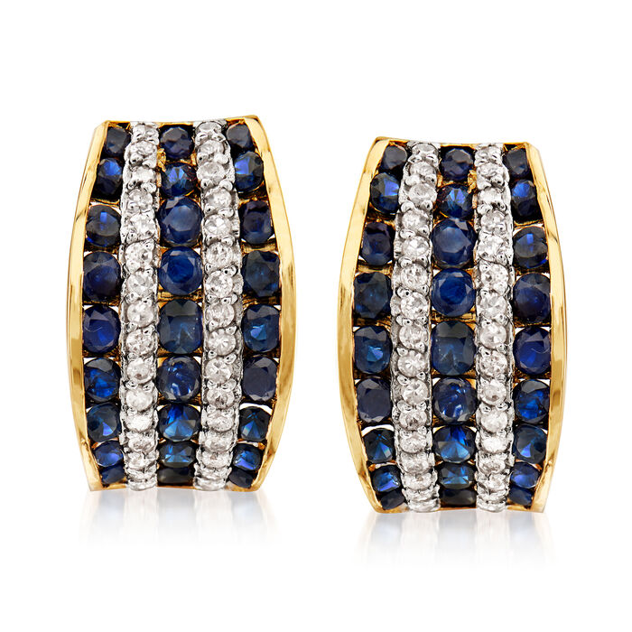 1.80 ct. t.w. Sapphire and .32 ct. t.w. Diamond Hoop Earrings in 14kt Yellow Gold