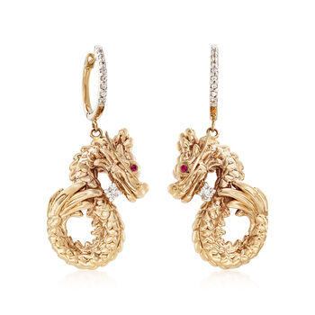 .20 ct. t.w. White Sapphire Dragon Earrings with Ruby Accents in 14kt Yellow Gold, , default