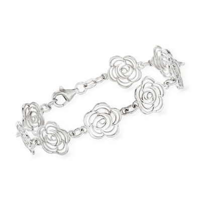 Italian Sterling Silver Cut-Out Roses Bracelet, , default