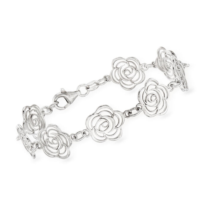 Italian Sterling Silver Cut-Out Roses Bracelet. 7.5""