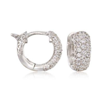 .25 ct. t.w. CZ Huggie Hoop Earrings in Sterling Silver, , default