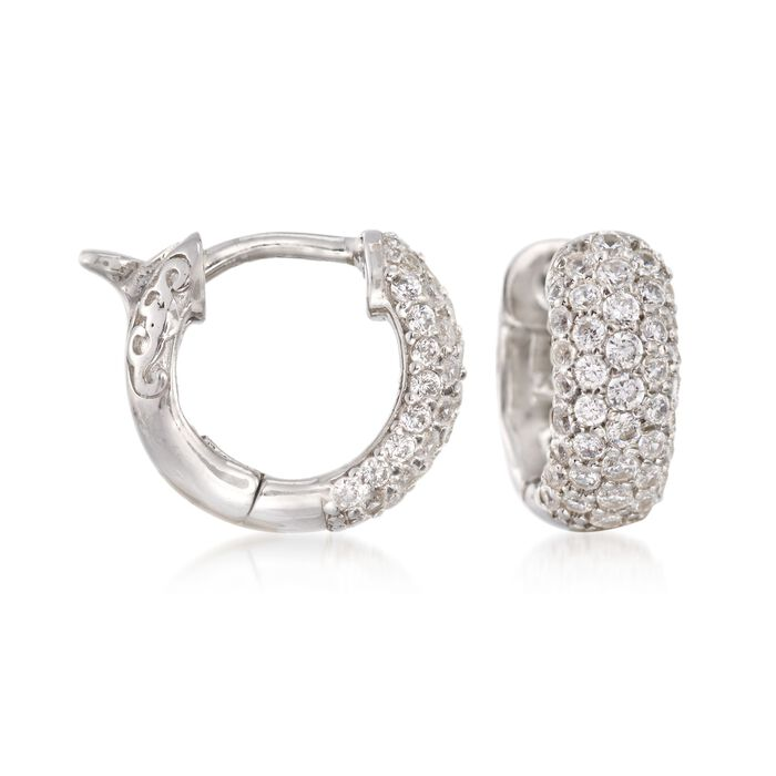 ".25 ct. t.w. CZ Huggie Hoop Earrings in Sterling Silver. 1/2"", , default"