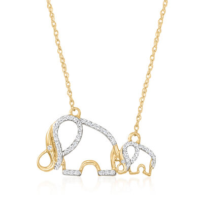 .25 ct. t.w. Diamond Double-Elephant Outline Necklace in 18kt Gold Over Sterling