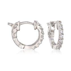 .30 ct. t.w. CZ Huggie Hoop Earrings in Sterling Silver, , default