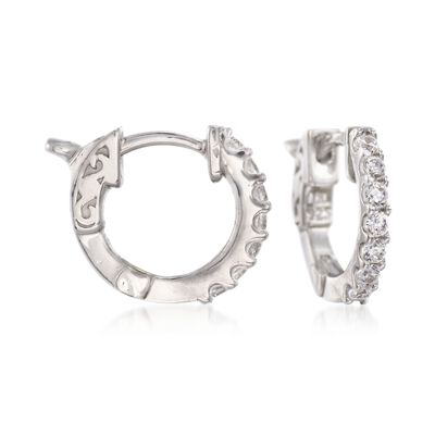.30 ct. t.w. CZ Huggie Hoop Earrings in Sterling Silver, , default