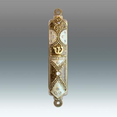 Jeweled Bronze and Pearl Enamel Mezuzah Case