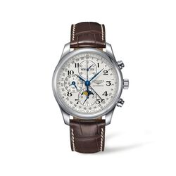 Longines Master Men's 42mm Auto Chronograph Stainless Steel Watch With Moon Phase and Brown Alligator, , default