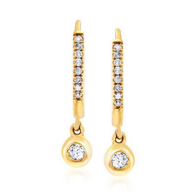 .14 ct. t.w. Diamond Charm Petite Hoop Earrings in 14kt Yellow Gold, , default