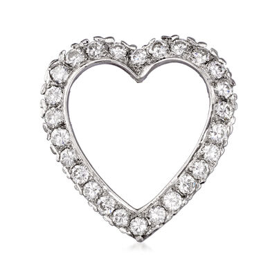 C. 1980 Vintage 1.75 ct. t.w. Diamond Heart Pin in 18kt White Gold, , default