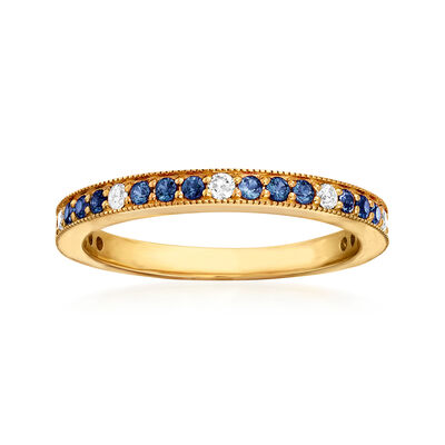 .30 ct. t.w. Sapphire and .13 ct. t.w. Diamond Ring in 14kt Yellow Gold