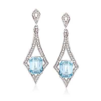 5.00 ct. t.w. Aquamarine and .55 ct. t.w. Diamond Drop Earrings, , default