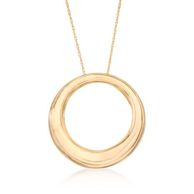 14kt Yellow Gold Open Eternity Circle Pendant Necklace, , default