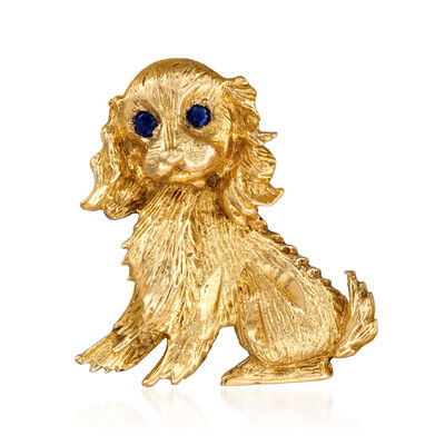 C. 1970 Vintage .15 ct. t.w. Sapphire Dog Pin in 18kt Yellow Gold