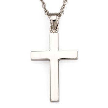 "14kt White Gold Polished Cross Pendant Necklace. 18"", , default"