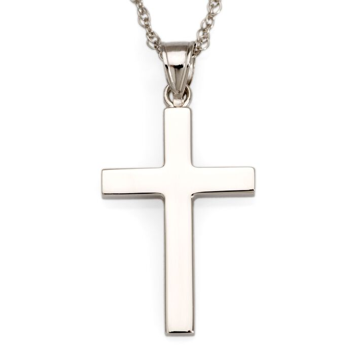 "14kt White Gold Polished Cross Pendant Necklace. 18"", , default"