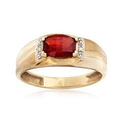C. 1990 Vintage Men's 1.50 Carat Garnet Ring in 10kt Yellow Gold, , default
