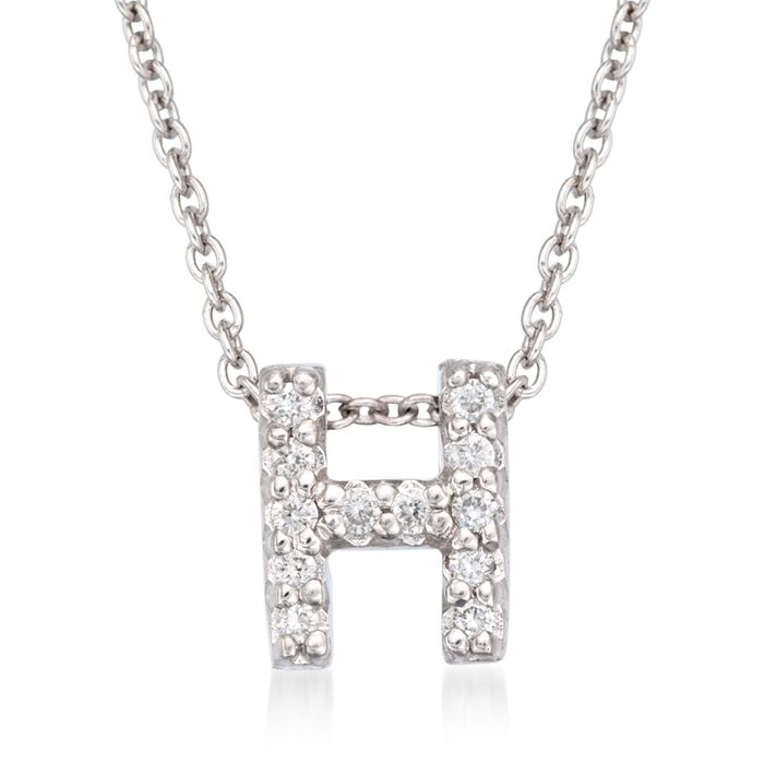 """Roberto Coin """"Love Letter"""" Diamond Accent Initial """"H"""" Necklace in 18kt White Gold"""