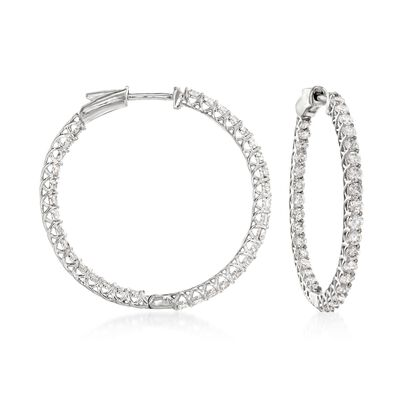 2.75 ct. t.w. Diamond Inside-Outside Hoop Earrings in 14kt White Gold, , default