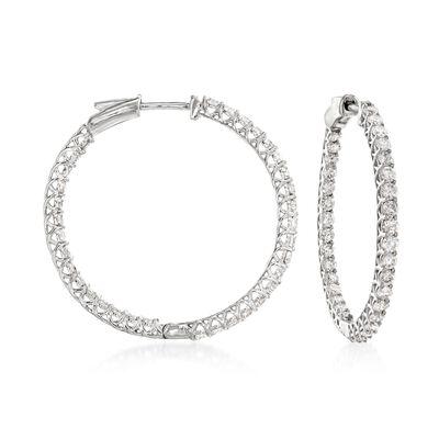 2.75 ct. t.w. Diamond Inside-Outside Hoop Earrings in 14kt White Gold, , default