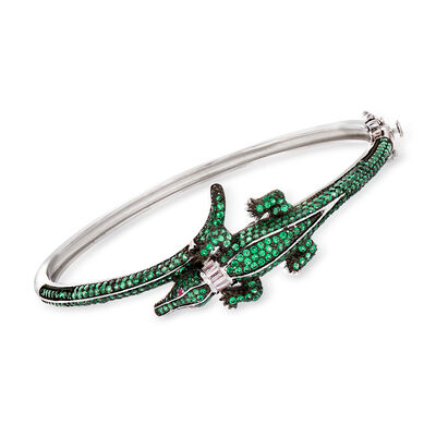 Green CZ Alligator Bangle Bracelet in Sterling Silver, , default