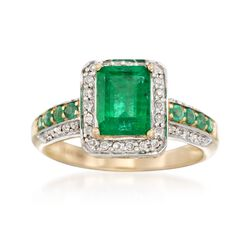 1.70 ct. t.w. Emerald and .20 ct. t.w. Diamond Ring in 14kt Yellow Gold, , default