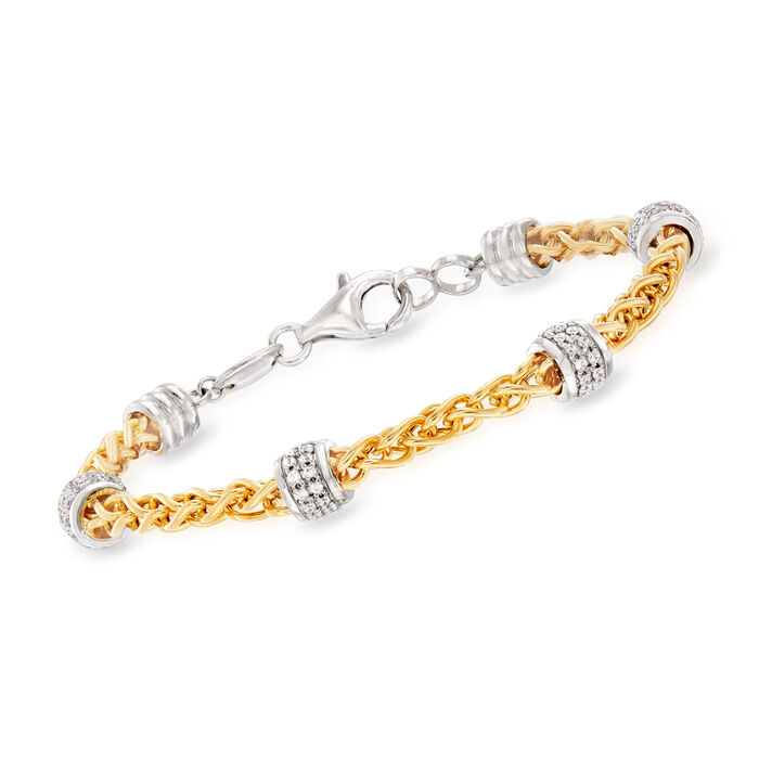 "Charles Garnier ""Paolo"" .86 ct. t.w. CZ Beaded Station Bracelet in Sterling Silver and 18kt Gold Over Sterling. 7 3/4"""", , default"