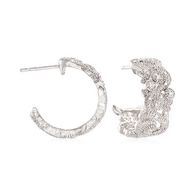 .10 ct. t.w. Diamond Scroll Earrings in Sterling Silver