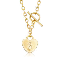 14kt Yellow Gold Personalized Heart Toggle Necklace, , default