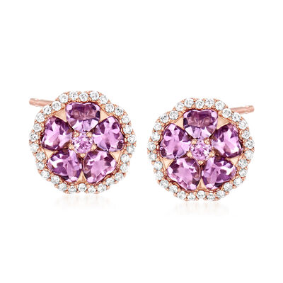 C. 1990 Vintage Crivelli Amethyst and .50 ct. t.w. Diamond Flower Earrings in 18kt Rose Gold