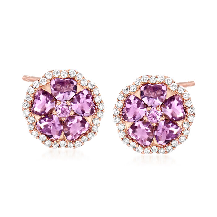 C. 1990 Vintage Crivelli Amethyst and .50 ct. t.w. Diamond Flower Earrings in 18kt Rose Gold, , default