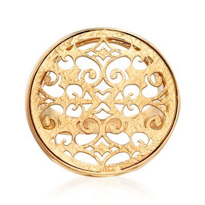 Italian 18kt Gold Over Sterling Silver Filigree Medallion Ring, , default