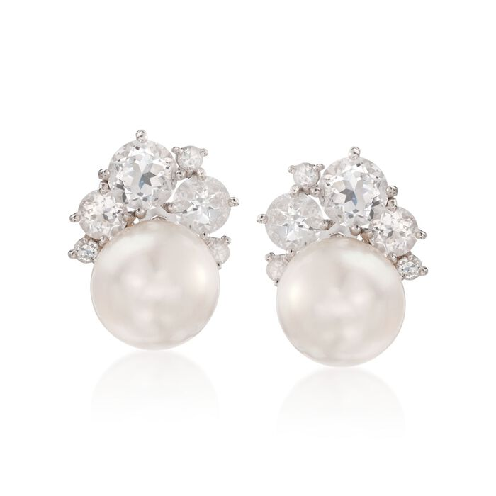 12.5-13mm Cultured Pearl and 6.75 ct. t.w. White Topaz Earrings in Sterling Silver, , default