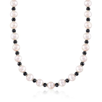 8-9mm Cultured Pearl and 25.00 ct. t.w. Black Spinel Bead Necklace with Sterling Silver, , default