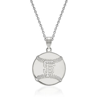 Sterling Silver MLB San Francisco Giants Pendant in Baseball Necklace. 18""