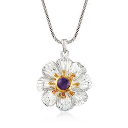 1.10 Carat Amethyst Floral Pendant Necklace in Two-Tone Sterling Silver, , default