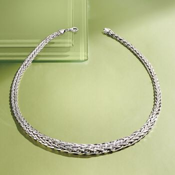 Sterling Silver Graduated Wheat-Link Necklace, , default