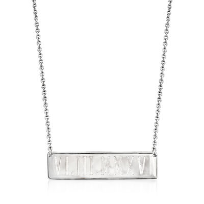 Sterling Silver Personalized Bar Necklace, , default