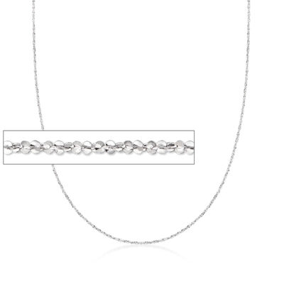Italian 1mm 14kt White Gold Crisscross Chain Necklace
