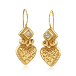 C. 1980 Vintage Nancy and David 18kt Yellow Gold Heart Drop Earrings With .10 ct. t.w. Diamonds, , default