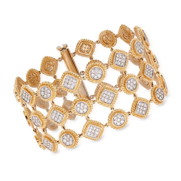 "C. 2000 Vintage 7.00 ct. t.w. Pave Diamond Wide Bracelet in 14kt Two-Tone Gold. 7.25"", , default"
