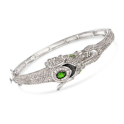 7.55 ct. t.w. Multi-Stone Elephant Bangle Bracelet in Sterling Silver, , default