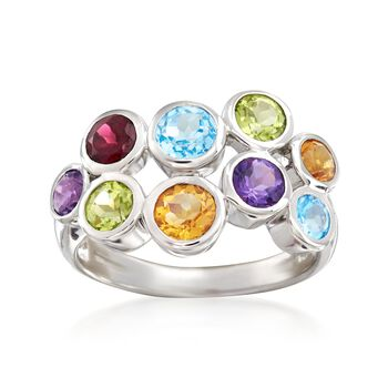 2.64 ct. t.w. Bezel-Set Multi-Stone Ring in Sterling Silver, , default