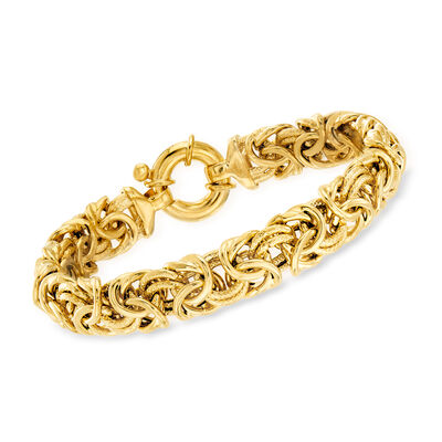 18kt Gold Over Sterling Large Byzantine Bracelet , , default