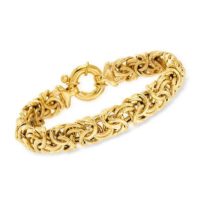 18kt Gold Over Sterling Large Byzantine Bracelet , , default
