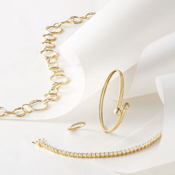 Italian 18kt Yellow Gold Long Textured Circle-Link Necklace, , default