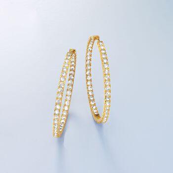 """3.50 ct. t.w. CZ Inside-Outside Hoop Earrings in 14kt Yellow Gold. 1 1/2"""", , default"""